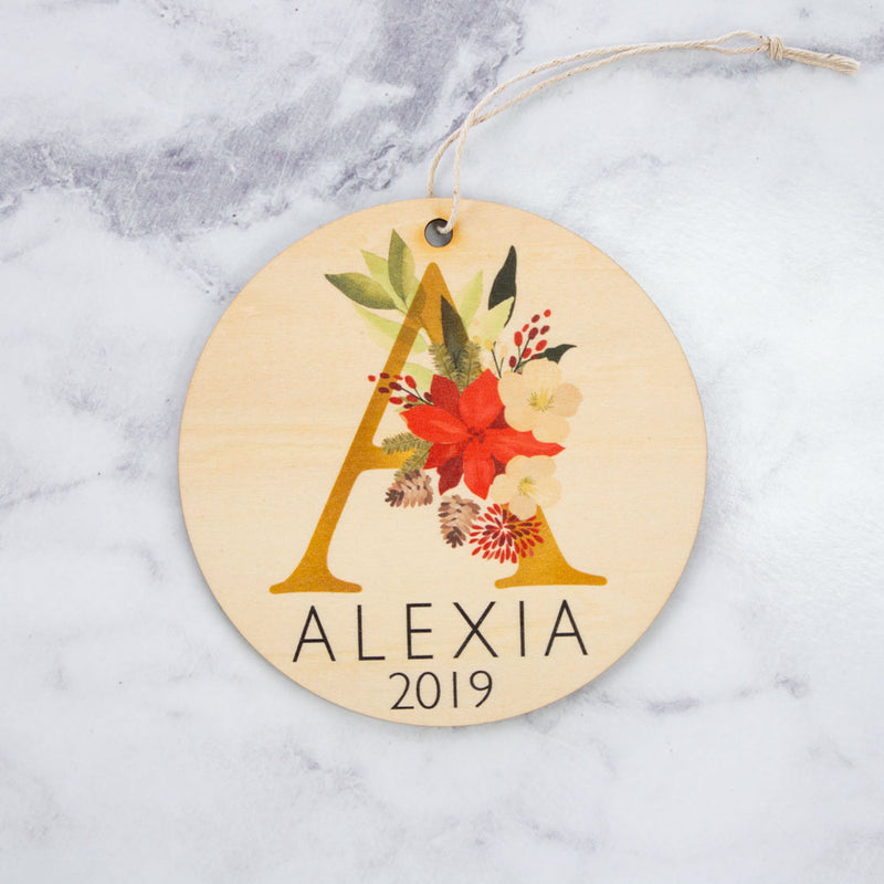 Plaque - Floral Monogram - Custom Name