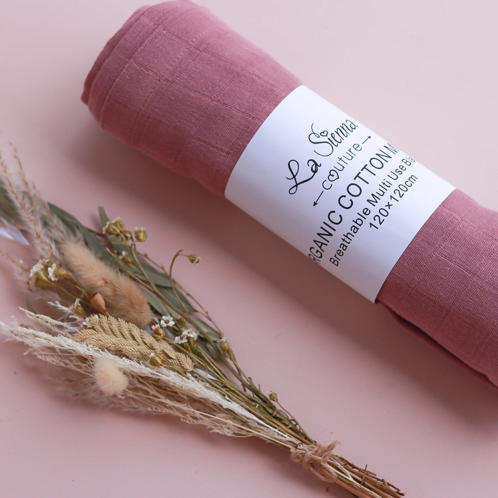Organic Muslin Baby Wrap - French Rose