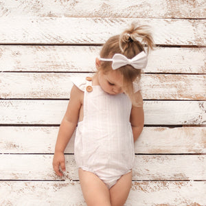 Button Romper - White Noella