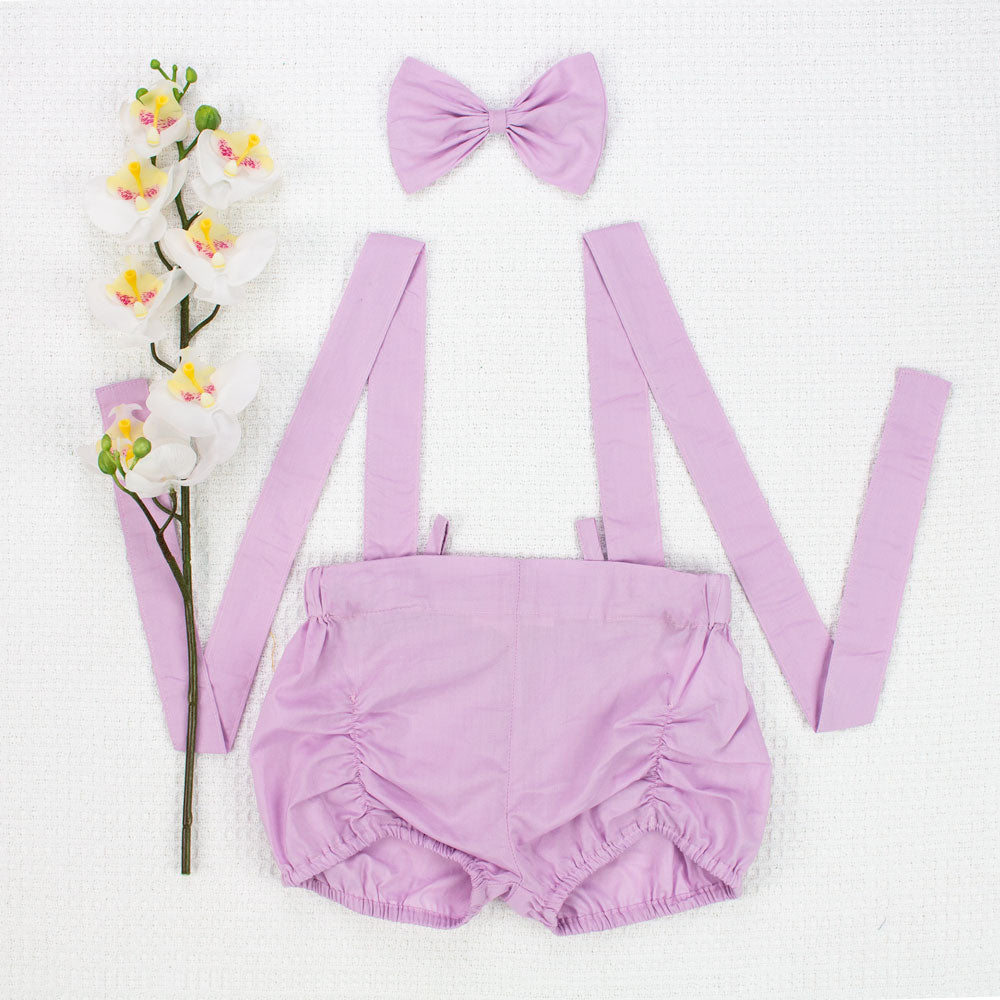 Suspender Shorts + Headband - Orchid