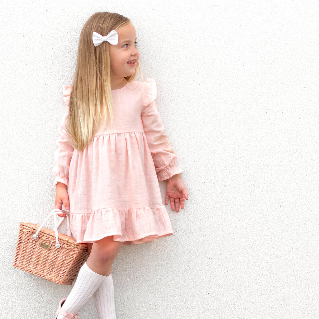 Muslin Ruffle Dress - Peach Blossom