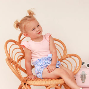 Short Sleeve Flutter Leotard/Top - Peach
