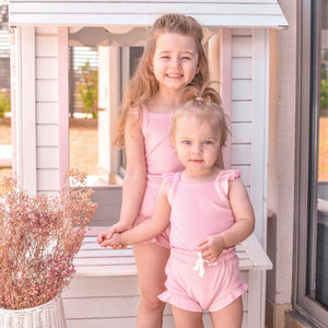 Cozy Singlet & Shorties Set - Sugar Pink