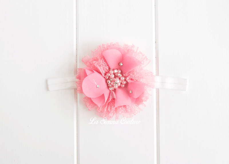Headband Elastic - Poppy Dusty Pink