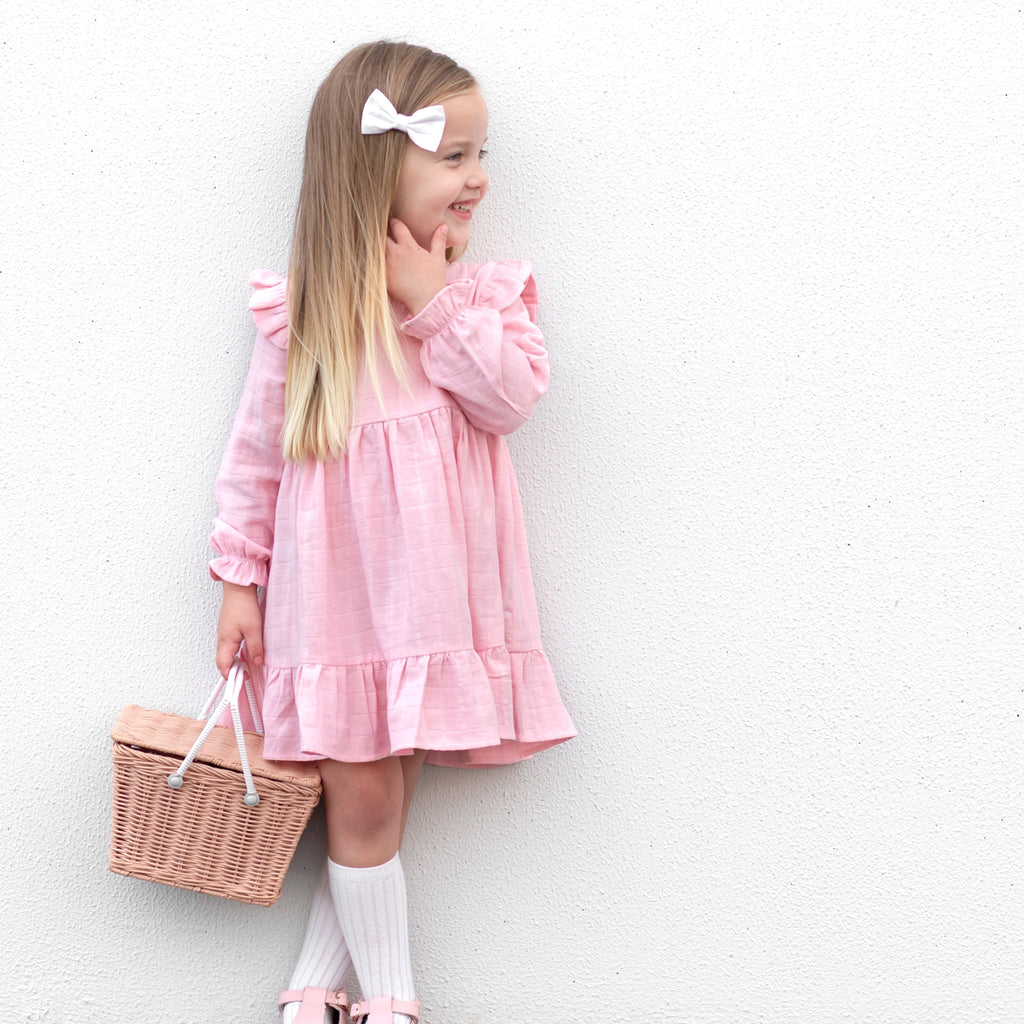 Muslin Ruffle Dress - Primrose Pink