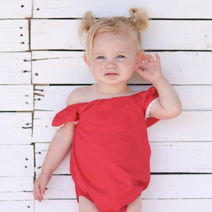 Sunsuit Romper + Headband - Red