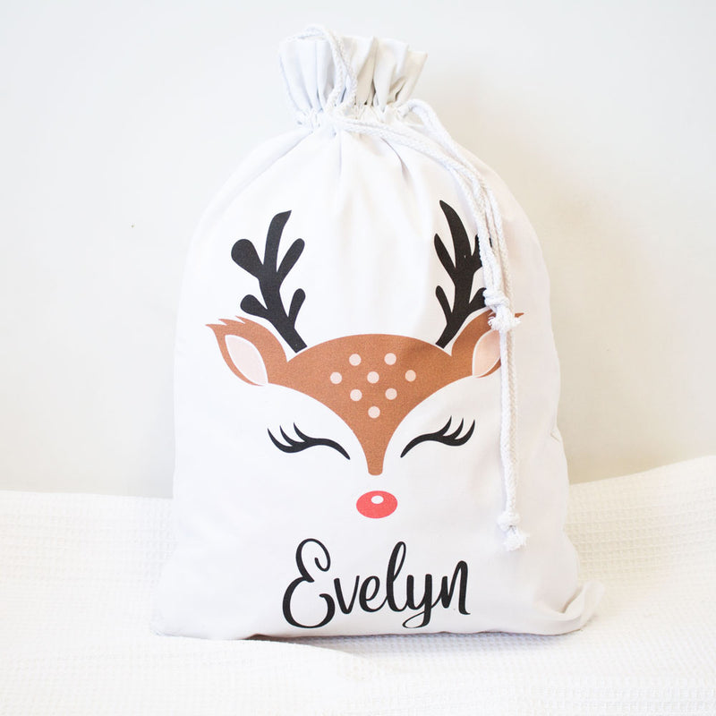 Santa Sack - Reindeer Face - Custom Name