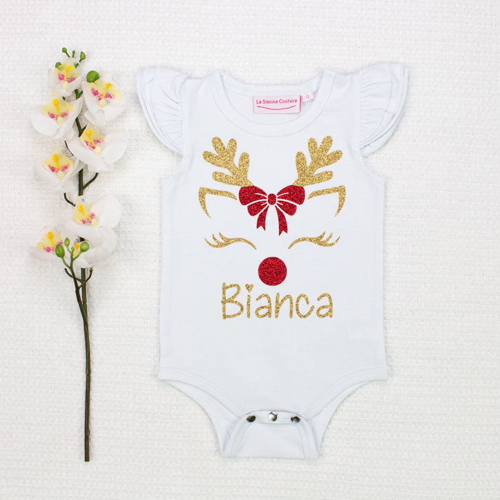 Reindeer w/ Bow - Name - Vinyl - Custom