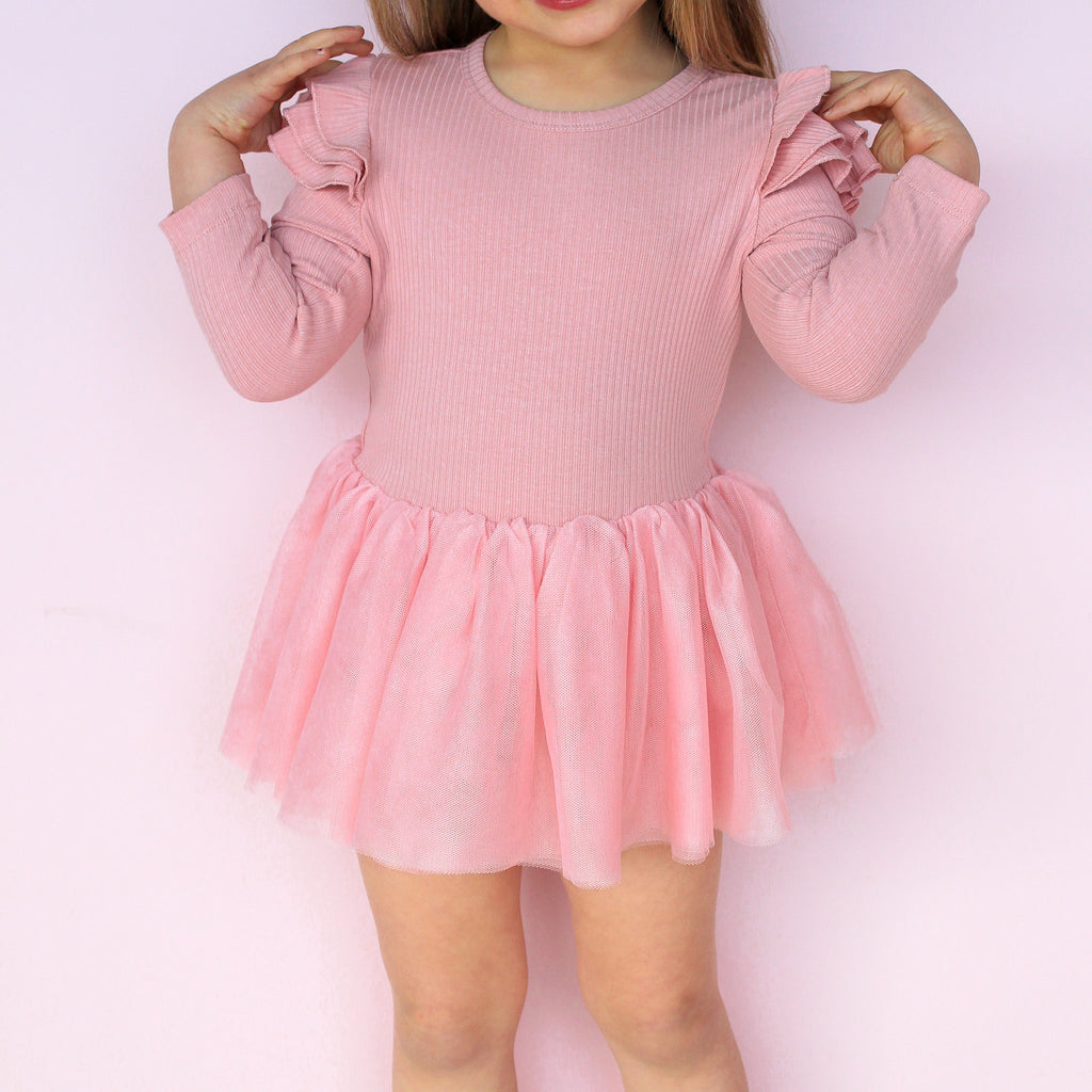 Cozy LS Tutu Dress - Rosewater
