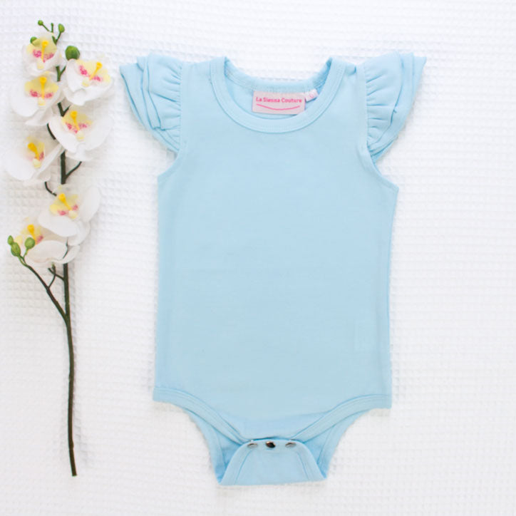 Short Sleeve Flutter Leotard/Top - Baby Blue