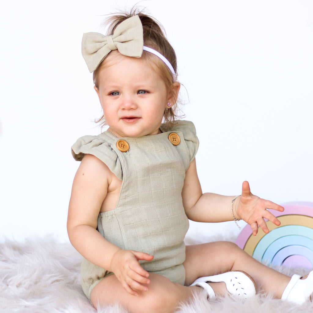 Muslin Button Romper + Headband - Sage