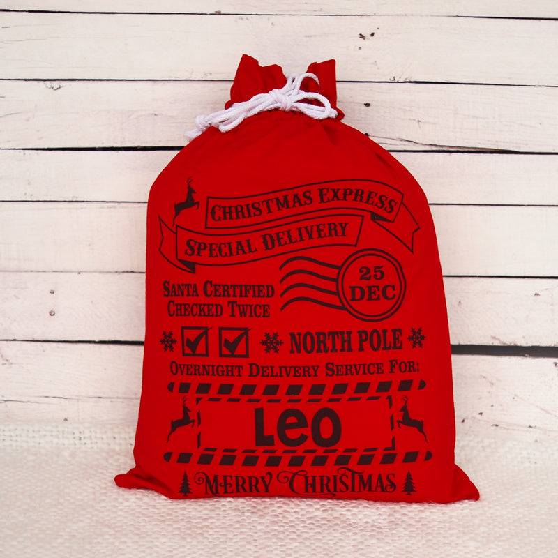 Red Santa Sack - Christmas Express - Custom Name