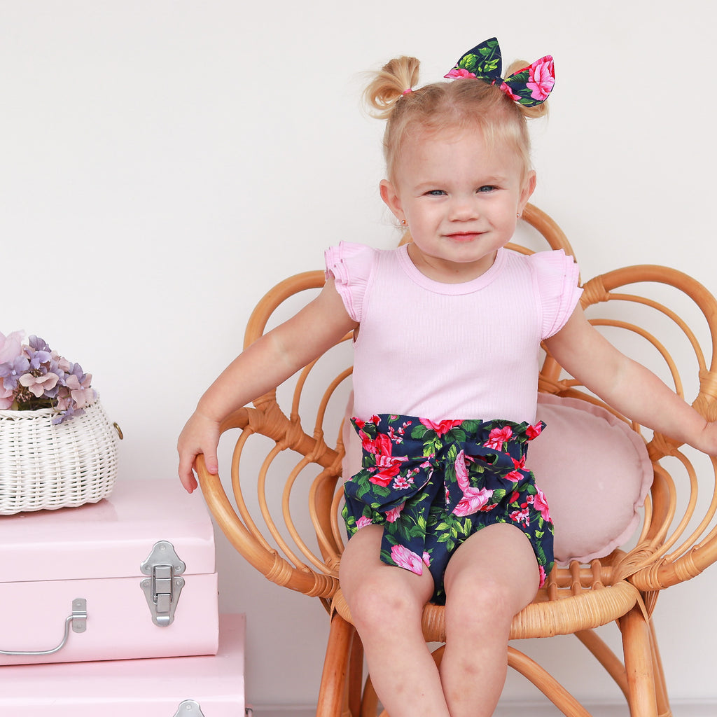 High Waisted Bloomers + Bib & Headband Set - Scarlett