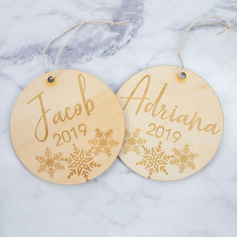 Plaque - Snowflake Monogram - Custom Name