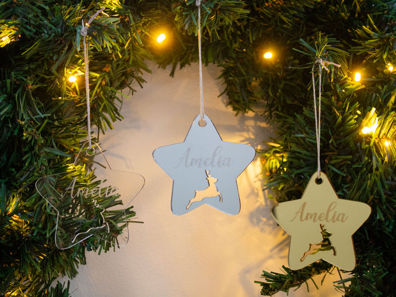 Ornament - Reindeer Star - Custom Name