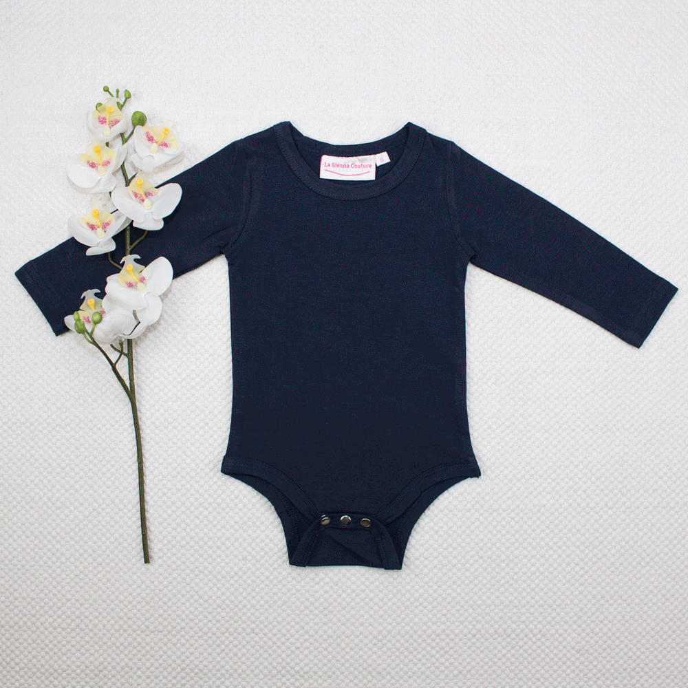 Long Sleeve Basic Unisex Leotard/Top - Navy