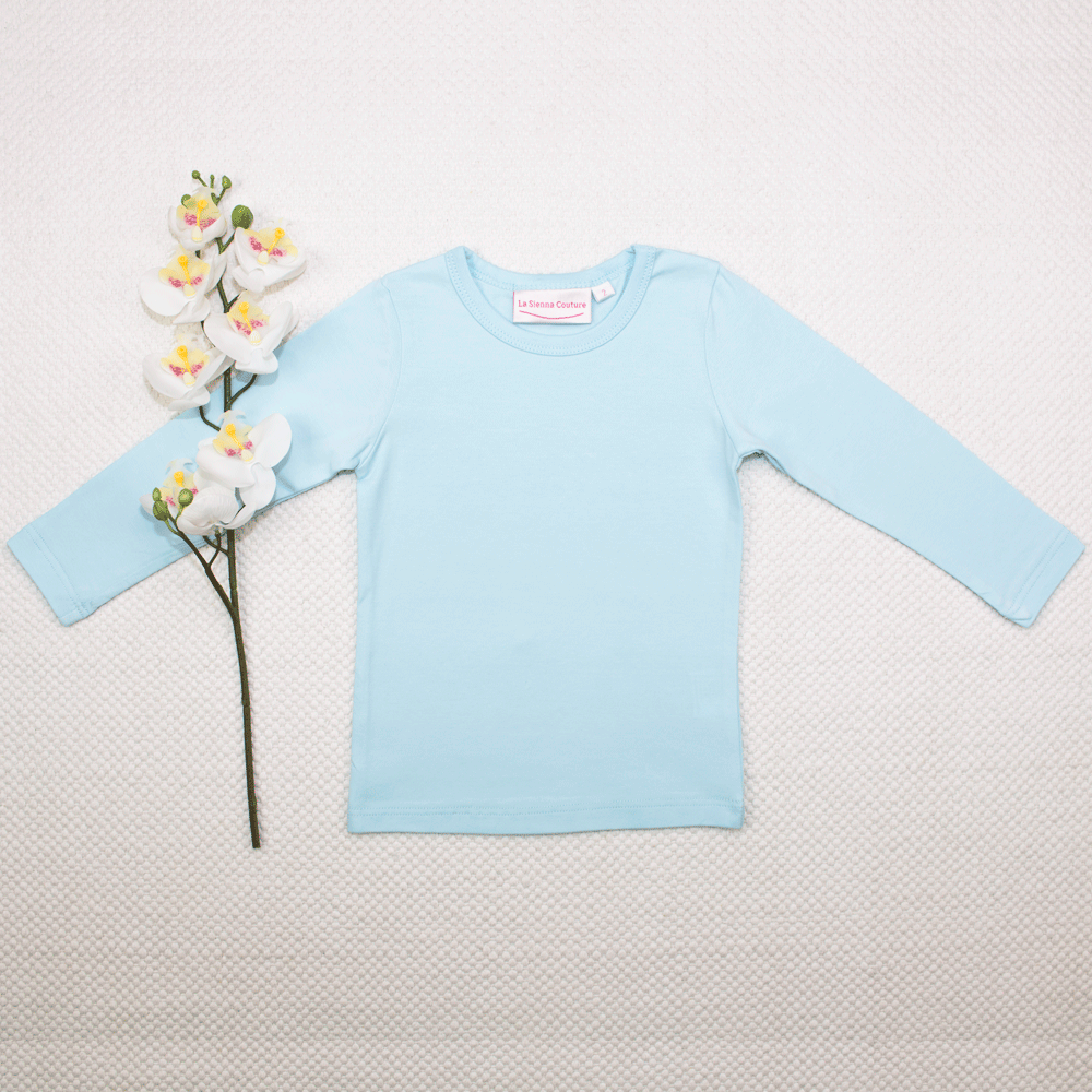 Long Sleeve Basic Unisex Top - Baby Blue