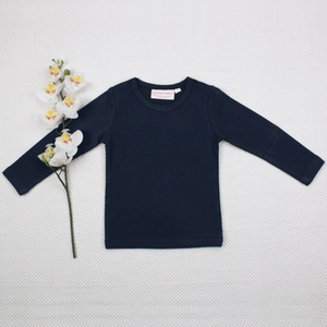 Long Sleeve Basic Unisex Top - Navy