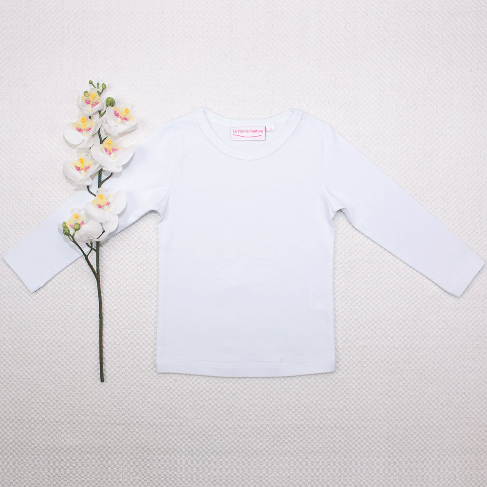 Long Sleeve Basic Unisex Top - White