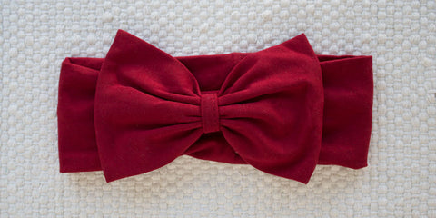 Stretchy Bow Headband - Maroon