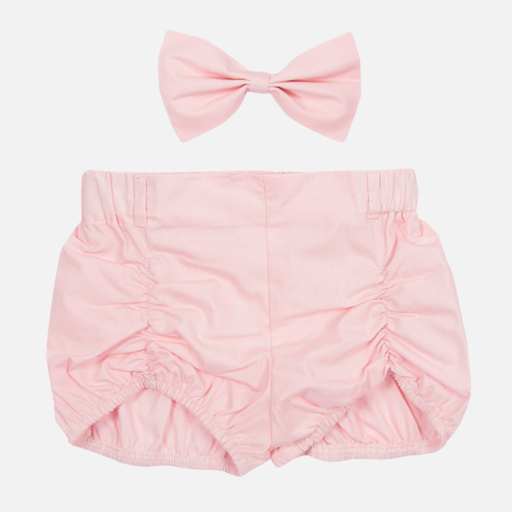 Shorts & Bow - Baby Pink