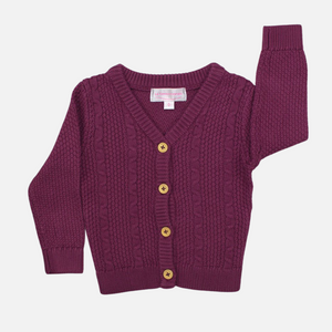 Knitted Cardigan - Wine
