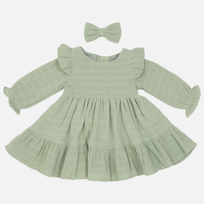Muslin Ruffle Dress - Sage