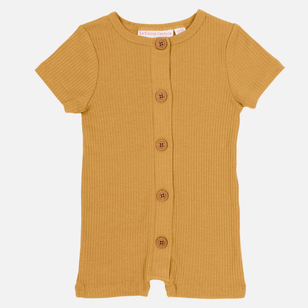 Cozy Summer Louie Romper - Honey Mustard