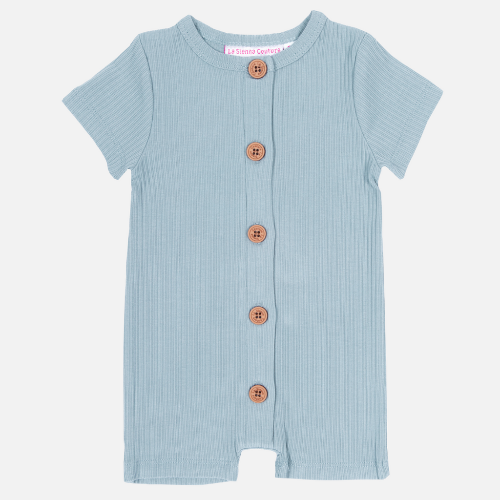Cozy Summer Louie Romper - Steel Blue