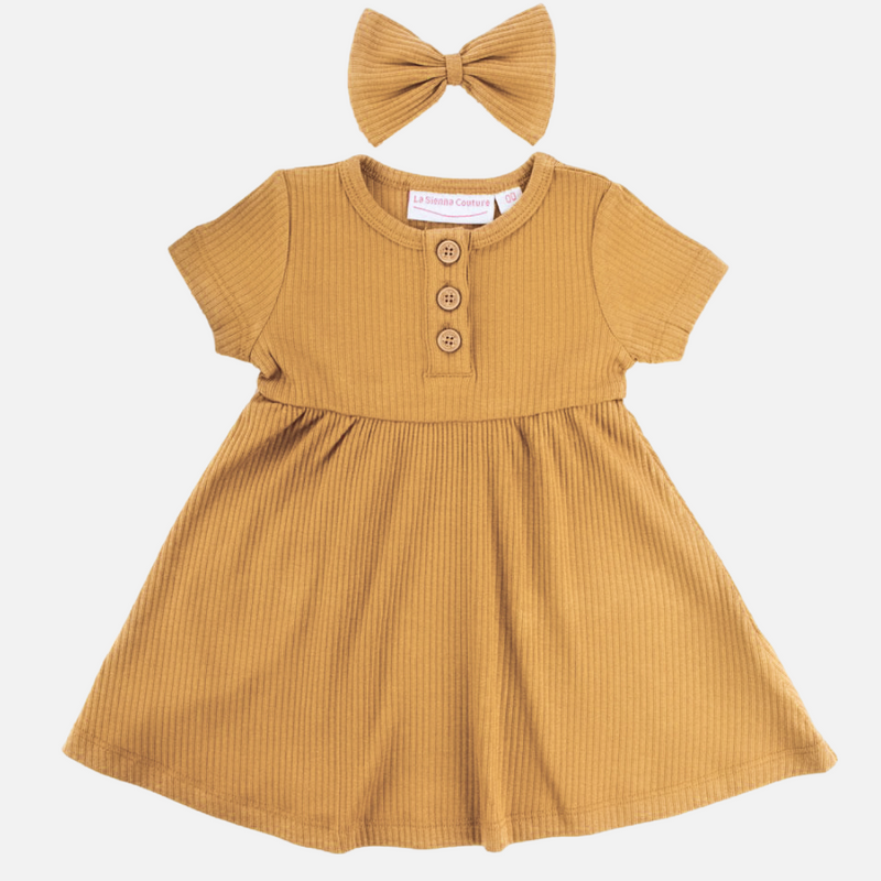 Cozy Basic SS Dress - Honey Mustard