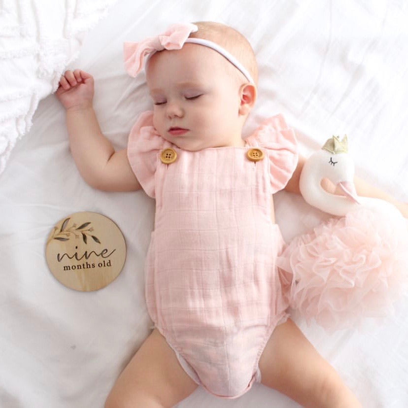 Muslin Button Romper - Peach Blossom