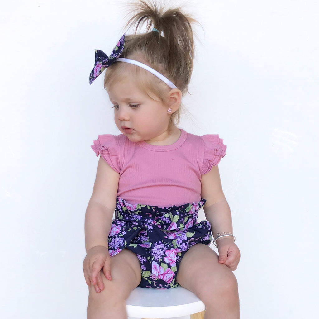 High Waisted Bloomers + Bib & Headband Set - Norah