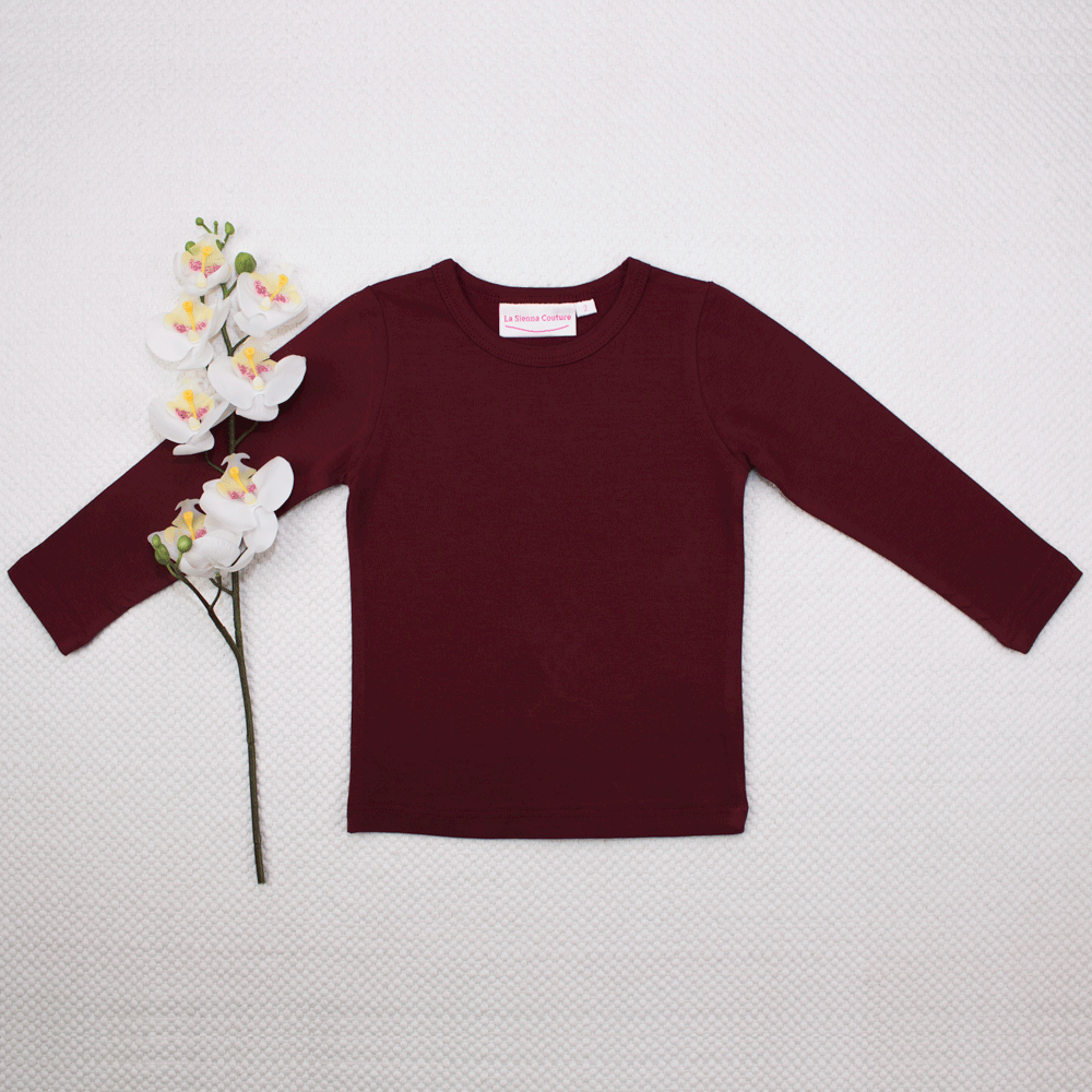 Long Sleeve Basic Unisex Leotard/Top - Maroon