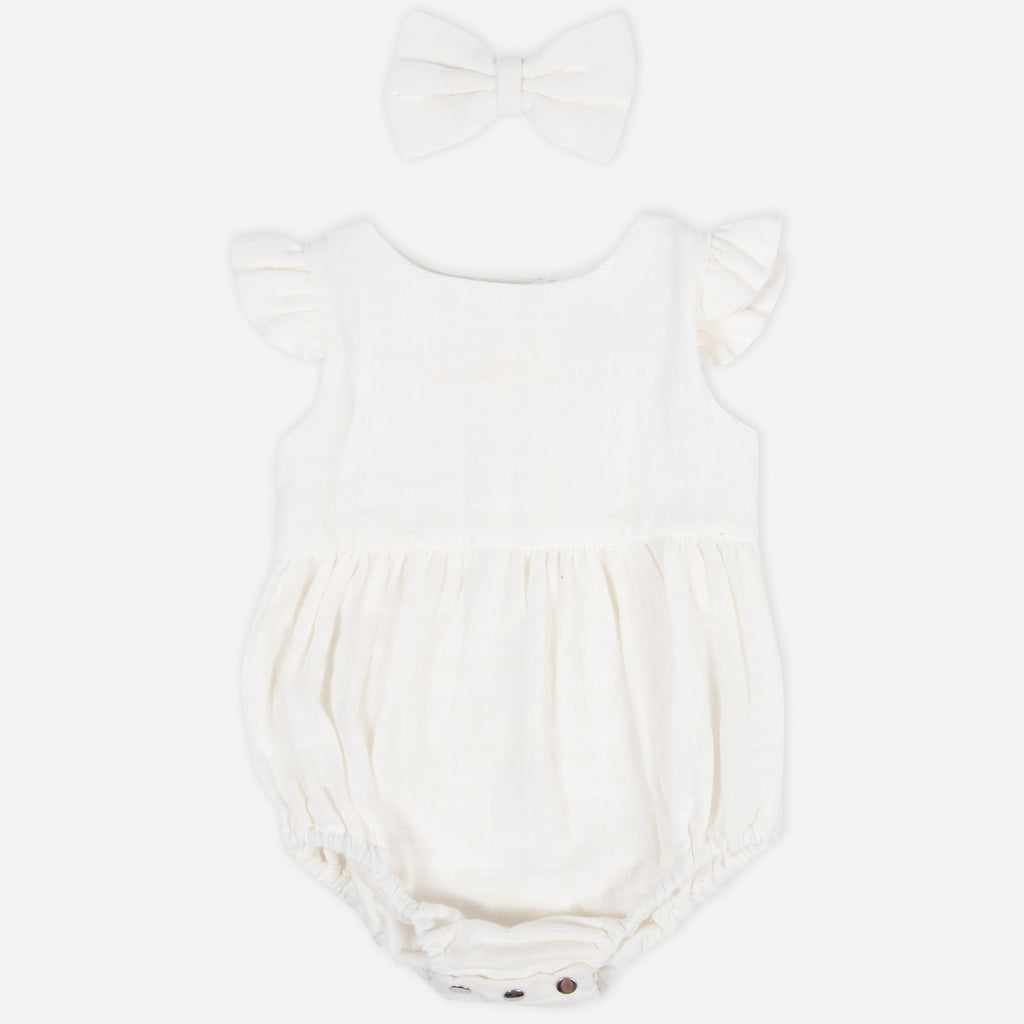 Muslin Bubble Romper - Coconut