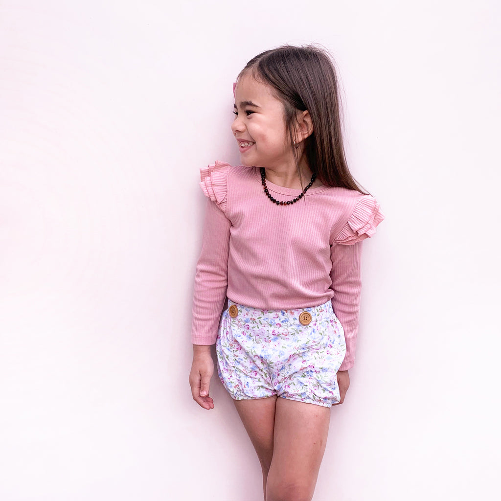 Cozy Long Sleeve Flutter - Rosewater
