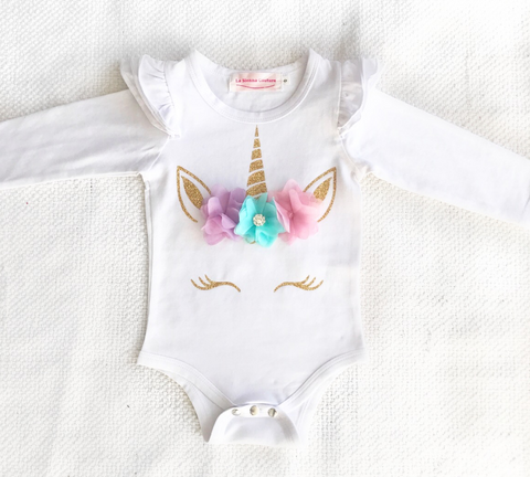 Unicorn Top - Long Sleeve Flutter - Customised
