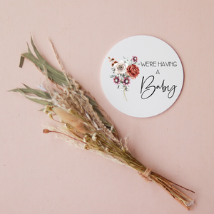 Acrylic Disc - We're Having a Baby - Floral