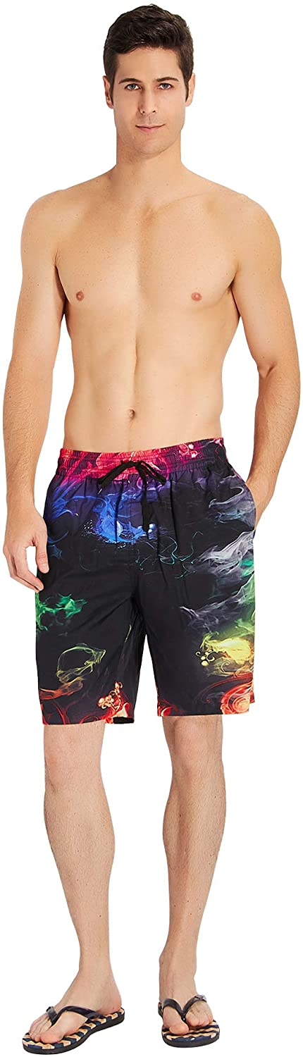 Cat Pattern Mens Board Shorts Swim Mesh Lining and Side Pocket