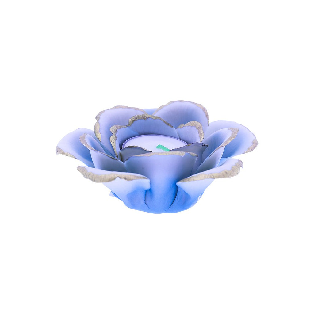 SINGLE ROSE CANDLE HOLDER 0127-LIGHT BLUE WITH GOLD COLOR