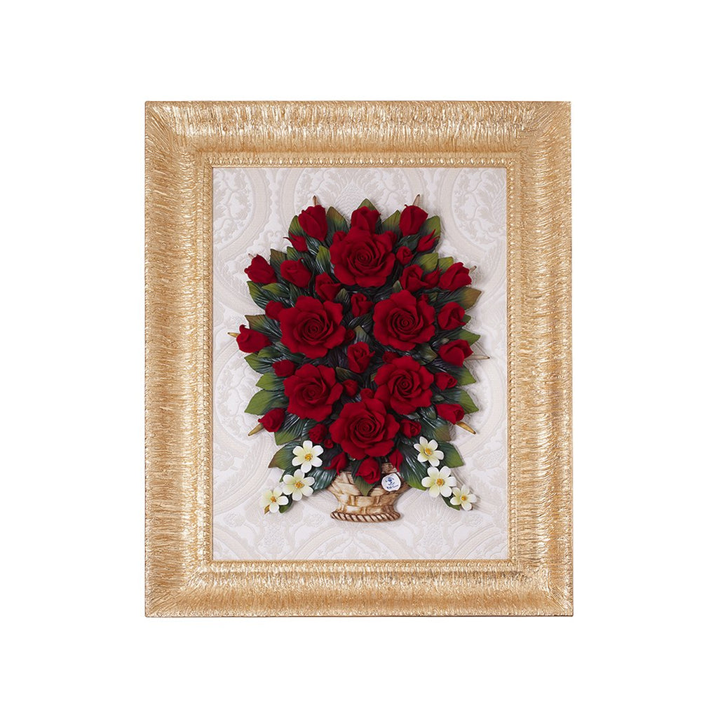 GIANT GOLDEN FRAME WITH BASKET WITH ROSES RED&BLACK 17 0762-17