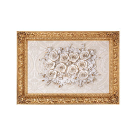 RECTANGULAR BAROCCO IVORY&GOLD FRAME W/ROSES WHITE WITH MAT GOLD 51 0771-51