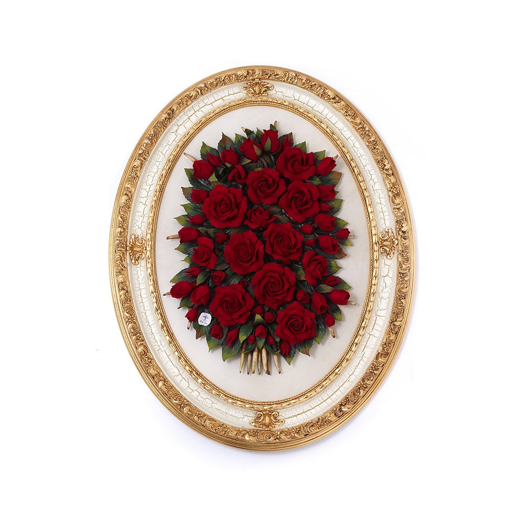GIANT GOLD OVAL FRAME WITH ROSES RED 09 0772-09