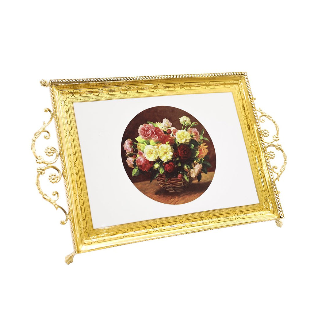 DEPOS RECT TRAY METAL ROSES 10103MT-ROSES