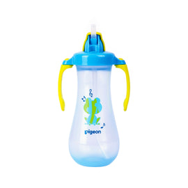 PIGEON TALL STRAW BOTTLE 300ML BLUE