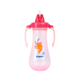 PIGEON TALL STRAW BOTTLE 300ML  PINK