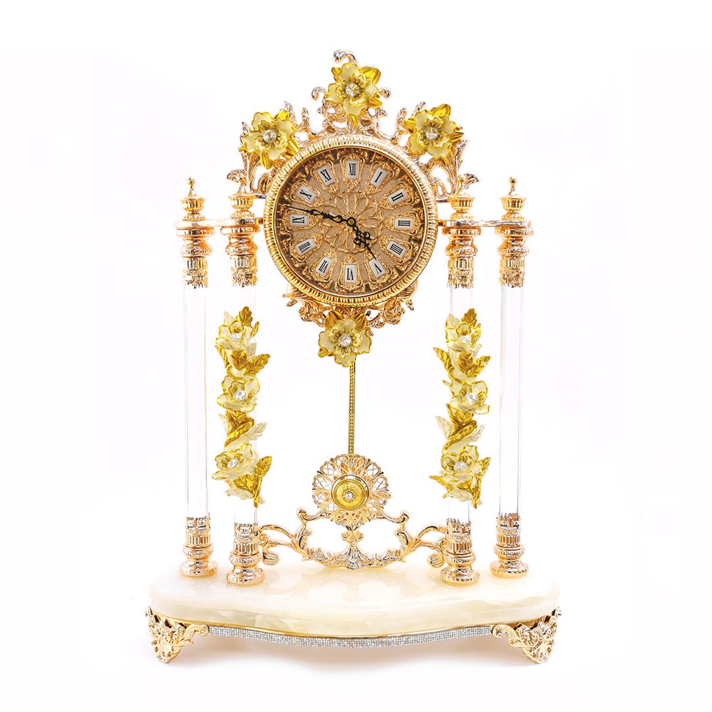 WHTE M.CLOCK W/CREAM WINDFLOWERS 3NI-OT-371-AC