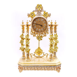 CREAM M.CLOCK W/CREAM WINDFLOWERS 3NI-OT-373-AC