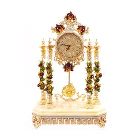 CREAM M.CLOCK W/RED & Y ROSES 3NI-OT-373-R3