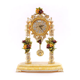 SMALL TABLE CLOCK W/RED & Y ROSES 3NI-OTW-374-R3