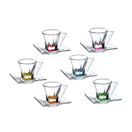 FUSION 6 COLOURED ESPRESSO CUPS + SAUCERS SET - RCR - 73291020006